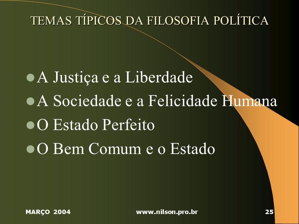 TEMAS TÍPICOS DA FILOSOFIA POLÍTICA