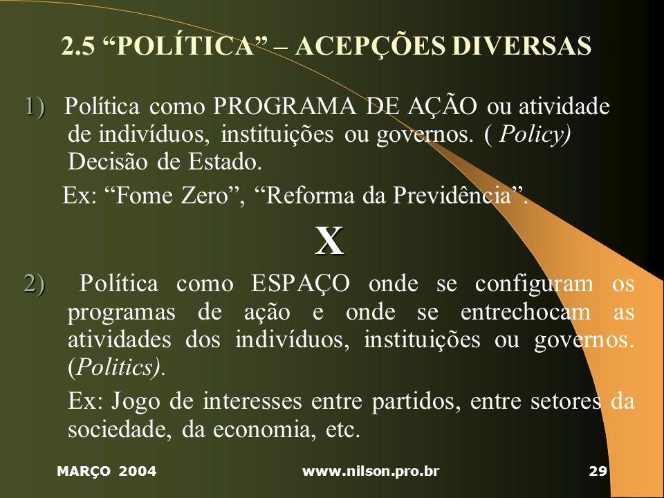 2.5 POLÍTICA – ACEPÇÕES DIVERSAS