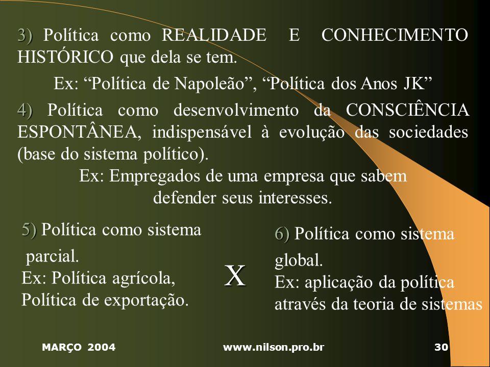X 3) Política como REALIDADE E CONHECIMENTO HISTÓRICO que dela se tem.