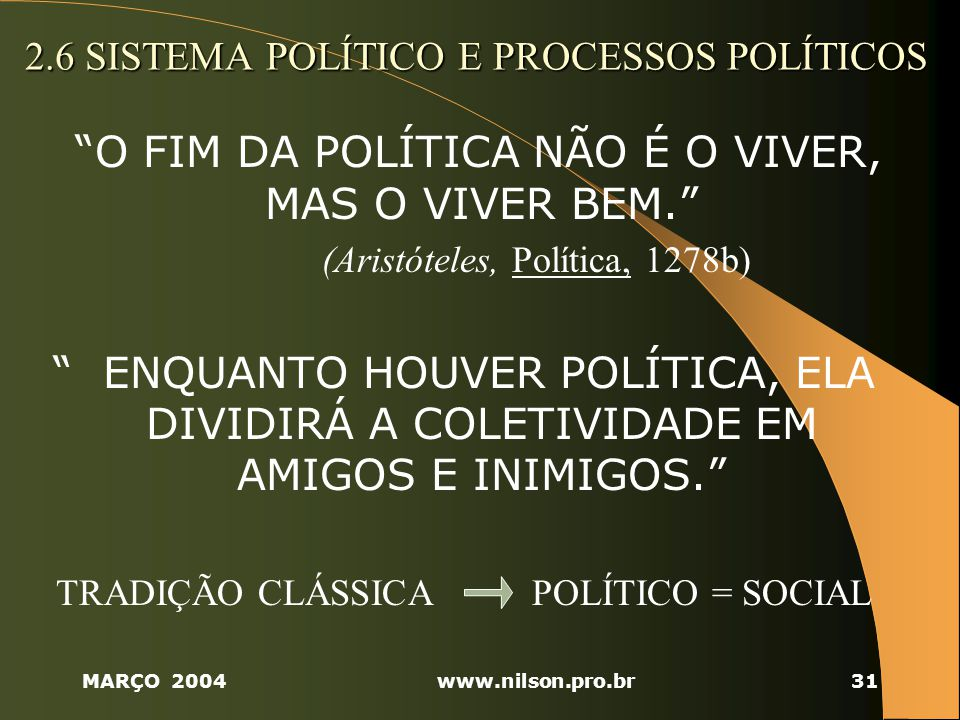 2.6 SISTEMA POLÍTICO E PROCESSOS POLÍTICOS