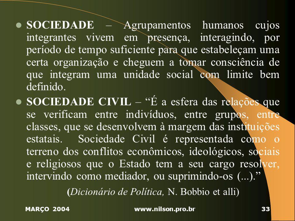 (Dicionário de Política, N. Bobbio et alli)