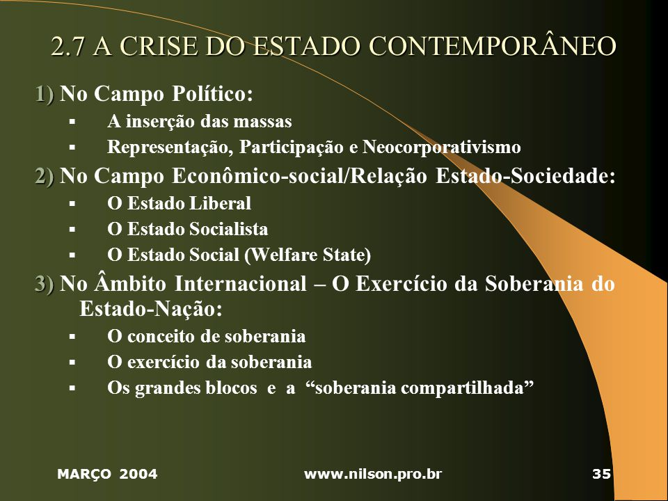2.7 A CRISE DO ESTADO CONTEMPORÂNEO