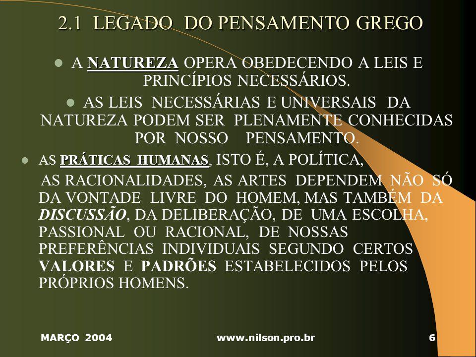 2.1 LEGADO DO PENSAMENTO GREGO
