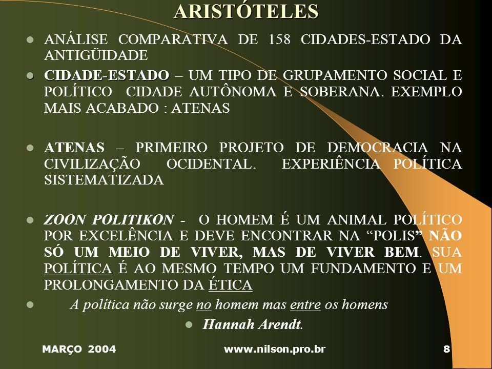 ARISTÓTELES ANÁLISE COMPARATIVA DE 158 CIDADES-ESTADO DA ANTIGÜIDADE