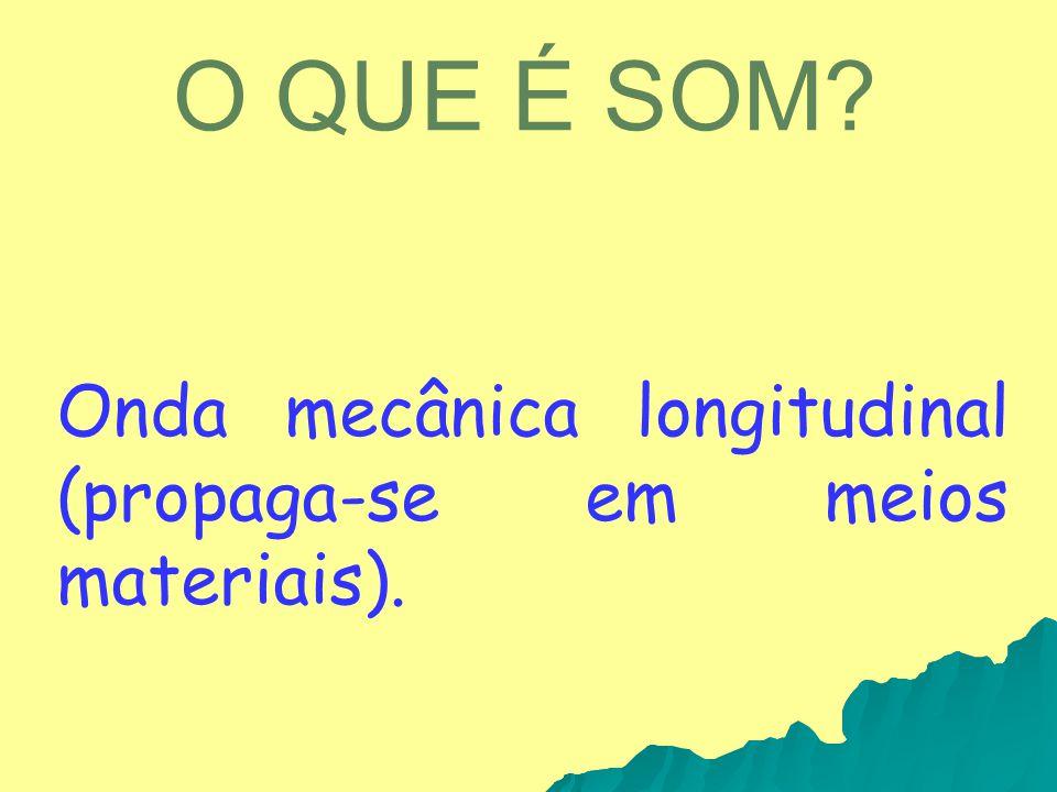 O QUE É SOM Onda mecânica longitudinal (propaga-se em meios materiais).