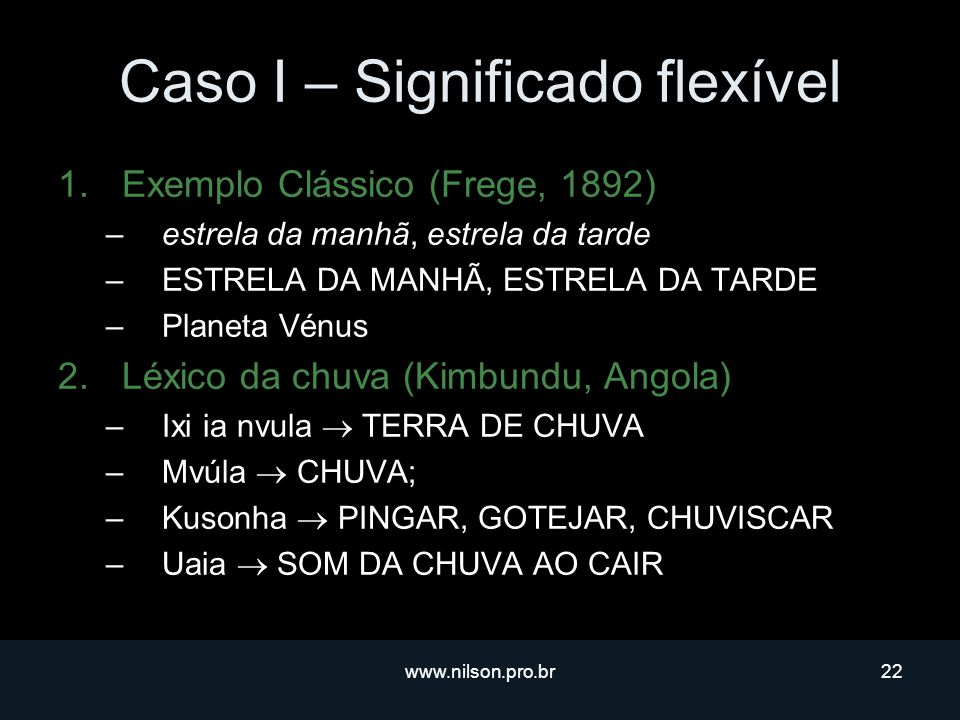 Caso I – Significado flexível