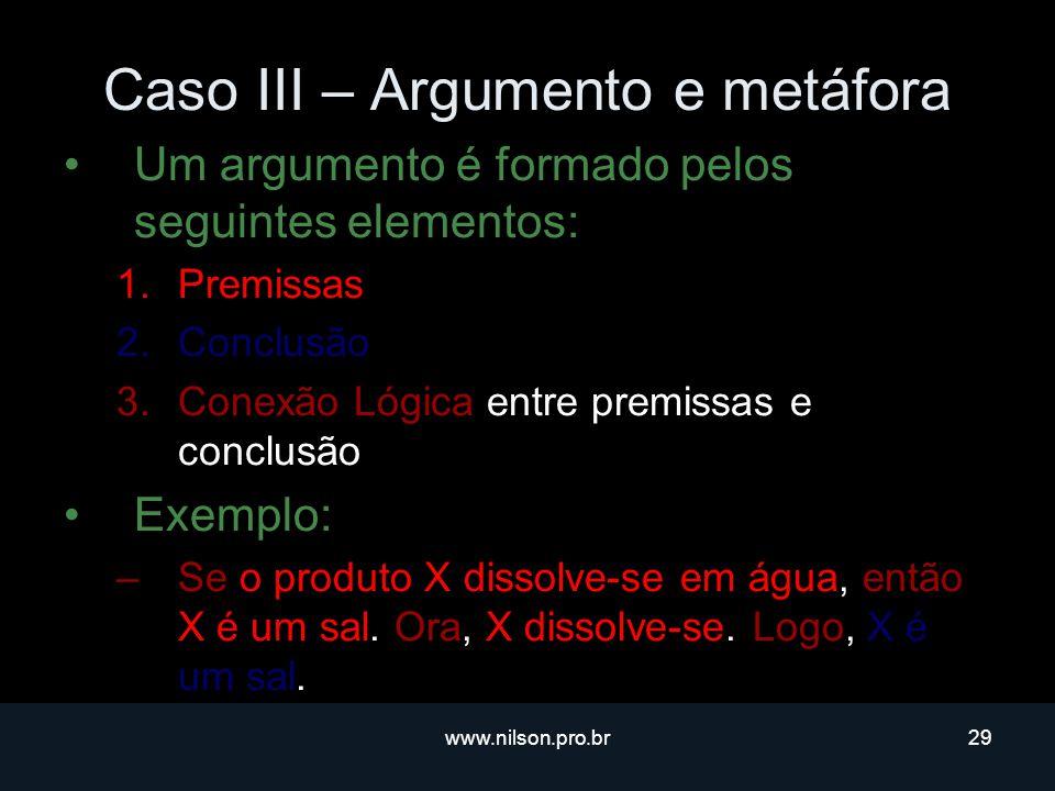 Caso III – Argumento e metáfora
