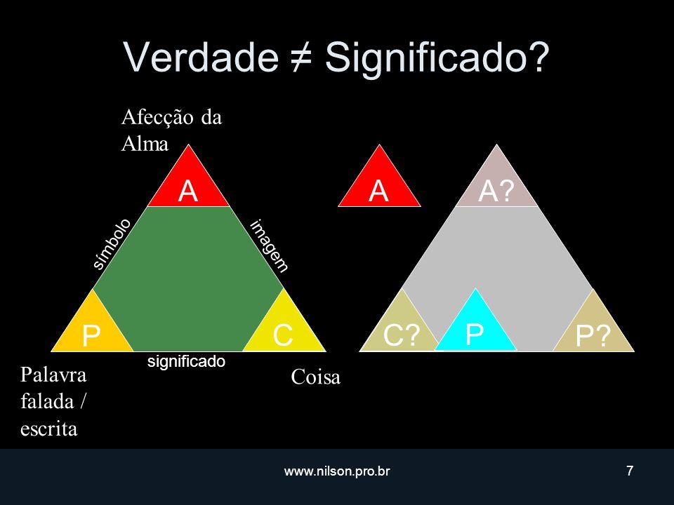 Verdade ≠ Significado P A C A P A C P Afecção da Alma