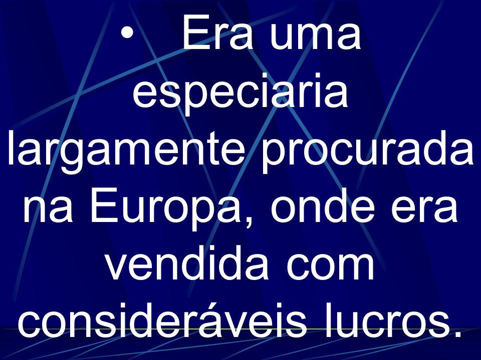 • Era uma especiaria largamente procurada na Europa, onde era vendida com consideráveis lucros.