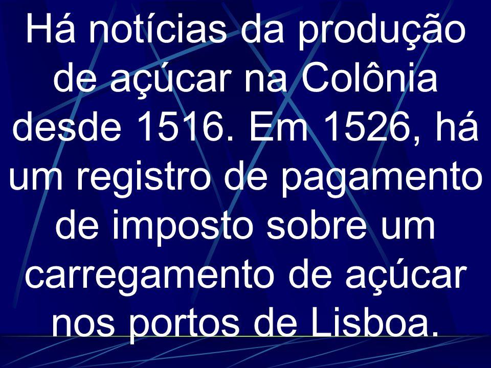 Há notícias da produção de açúcar na Colônia desde 1516