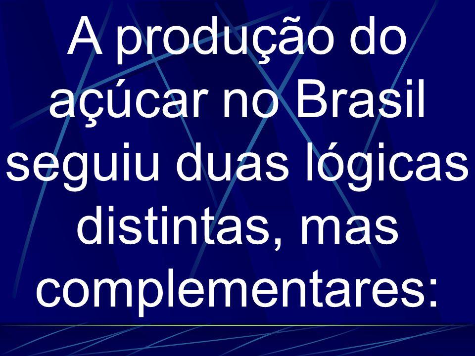 A produção do açúcar no Brasil seguiu duas lógicas distintas, mas complementares: