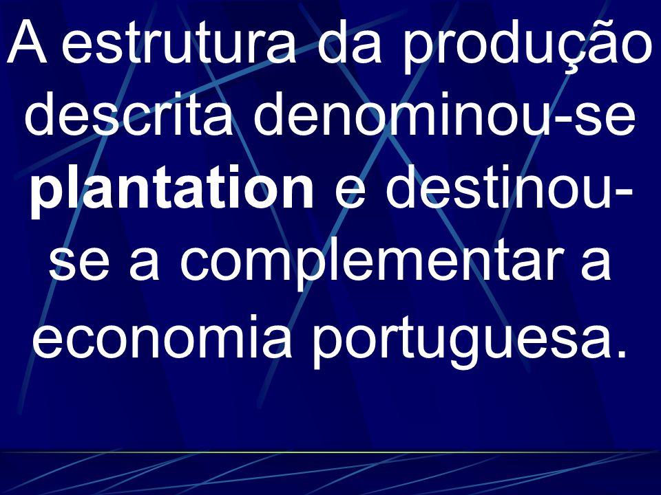 A estrutura da produção descrita denominou-se plantation e destinou-se a complementar a economia portuguesa.