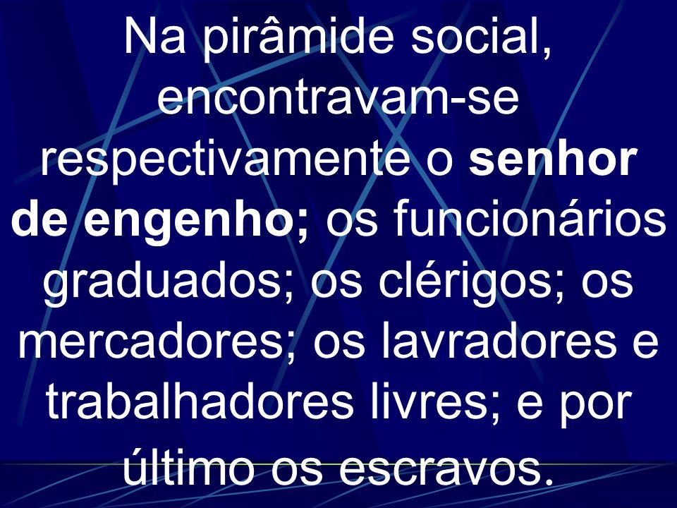 Na pirâmide social, encontravam-se respectivamente o senhor de engenho; os funcionários graduados; os clérigos; os mercadores; os lavradores e trabalhadores livres; e por último os escravos.