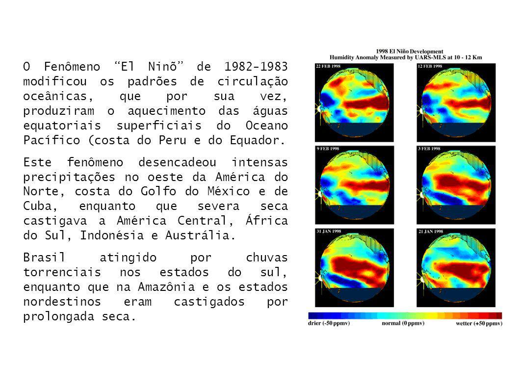 O Fenômeno El Ninõ de 1982-1983 modificou os padrões de circulação oceânicas, que por sua vez, produziram o aquecimento das águas equatoriais superficiais do Oceano Pacífico (costa do Peru e do Equador.