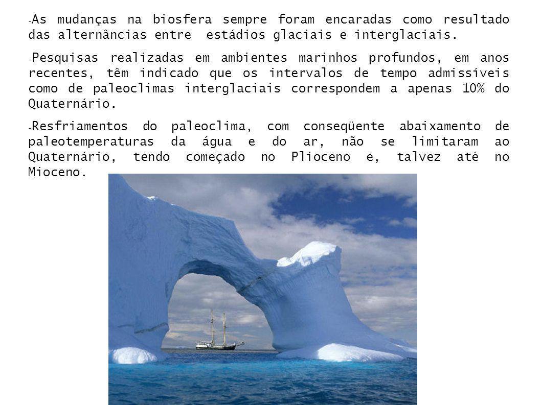 As mudanças na biosfera sempre foram encaradas como resultado das alternâncias entre estádios glaciais e interglaciais.
