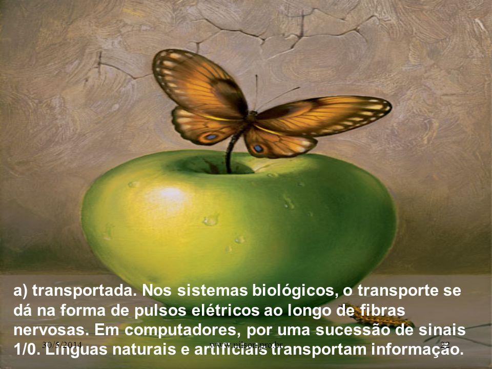 a) transportada. Nos sistemas biológicos, o transporte se dá na forma de pulsos elétricos ao longo de fibras nervosas. Em computadores, por uma sucessão de sinais 1/0. Línguas naturais e artificiais transportam informação.
