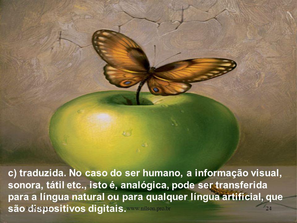 c) traduzida. No caso do ser humano, a informação visual, sonora, tátil etc., isto é, analógica, pode ser transferida para a língua natural ou para qualquer língua artificial, que são dispositivos digitais.