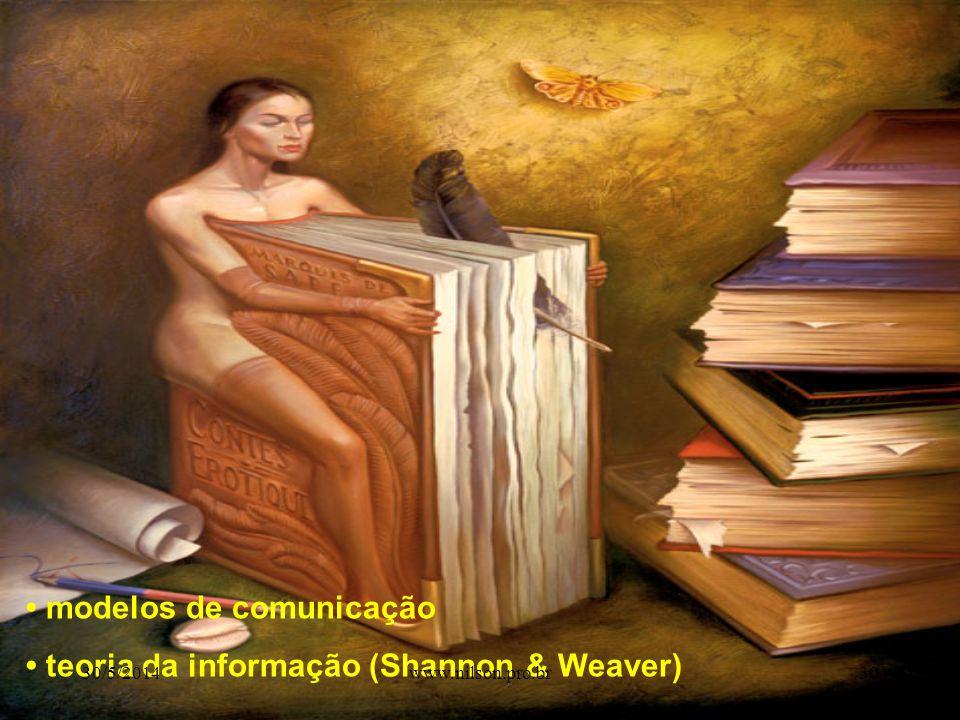 • modelos de comunicação • teoria da informação (Shannon & Weaver)