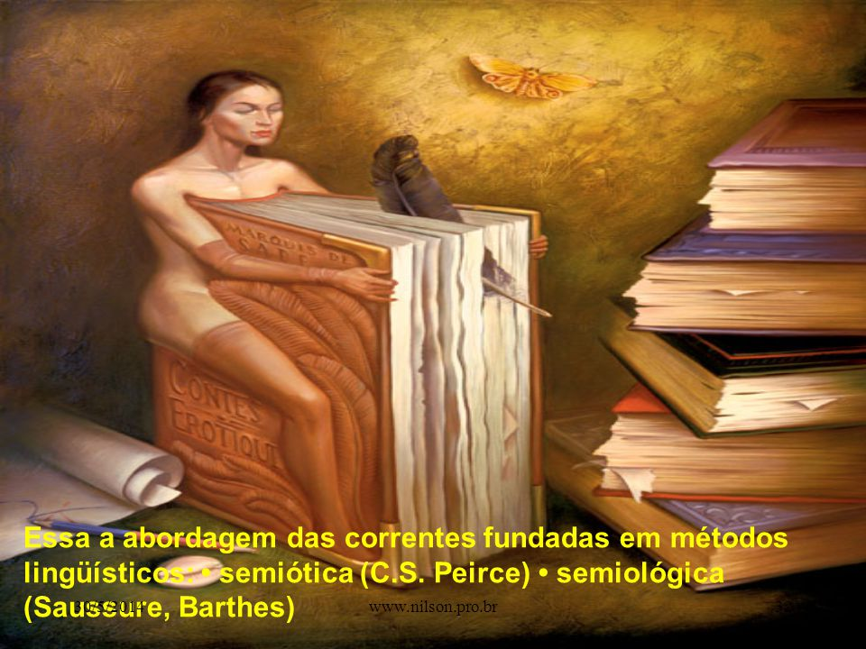 Essa a abordagem das correntes fundadas em métodos lingüísticos: • semiótica (C.S. Peirce) • semiológica (Saussure, Barthes)