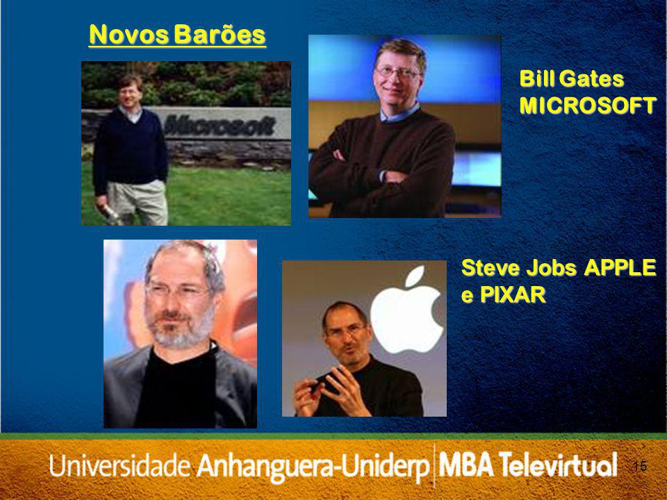 Novos Barões Bill Gates MICROSOFT Steve Jobs APPLE e PIXAR 15 15