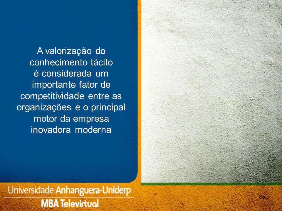 A valorização do conhecimento tácito é considerada um importante fator de competitividade entre as organizações e o principal motor da empresa inovadora moderna