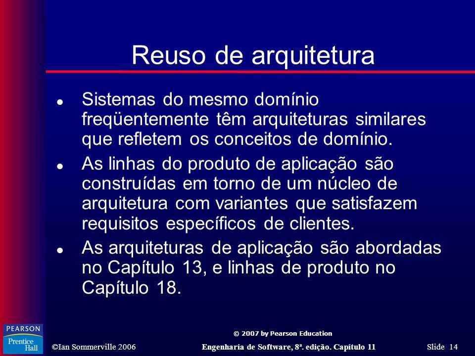 Reuso de arquitetura Sistemas do mesmo domínio freqüentemente têm arquiteturas similares que refletem os conceitos de domínio.