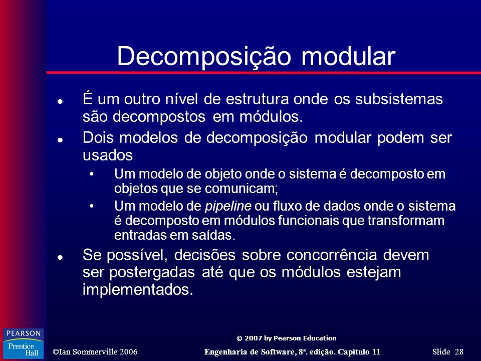Decomposição modular É um outro nível de estrutura onde os subsistemas são decompostos em módulos.