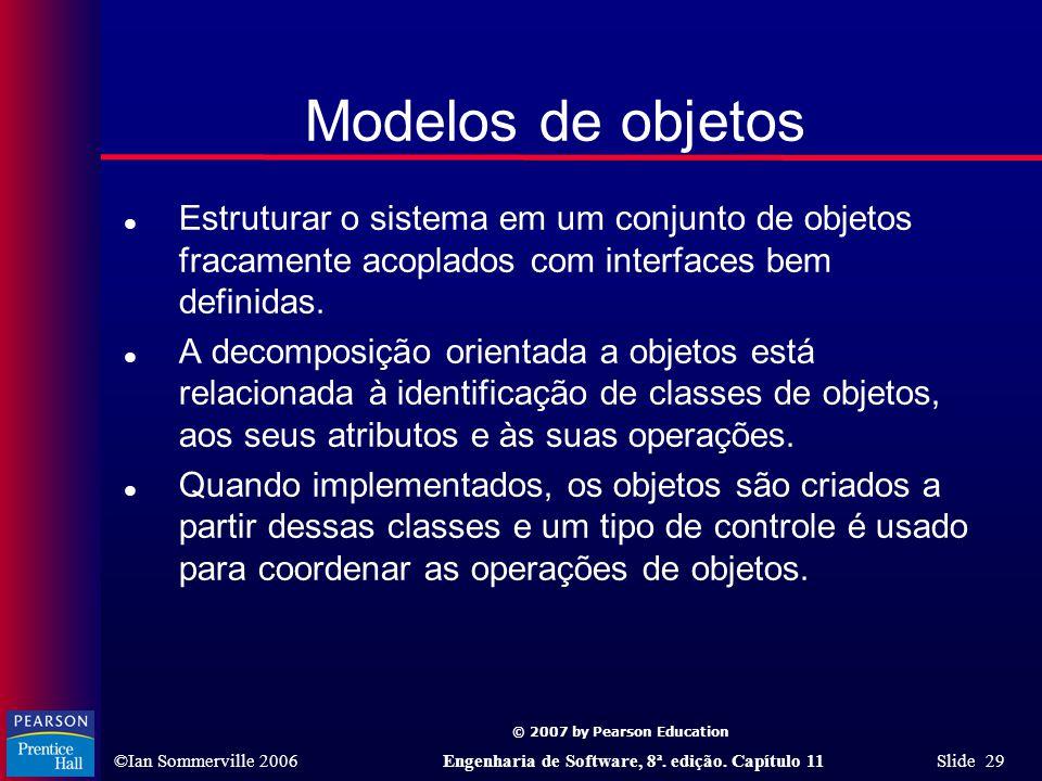 Modelos de objetos Estruturar o sistema em um conjunto de objetos fracamente acoplados com interfaces bem definidas.