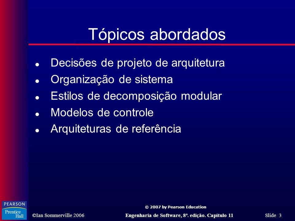 Tópicos abordados Decisões de projeto de arquitetura