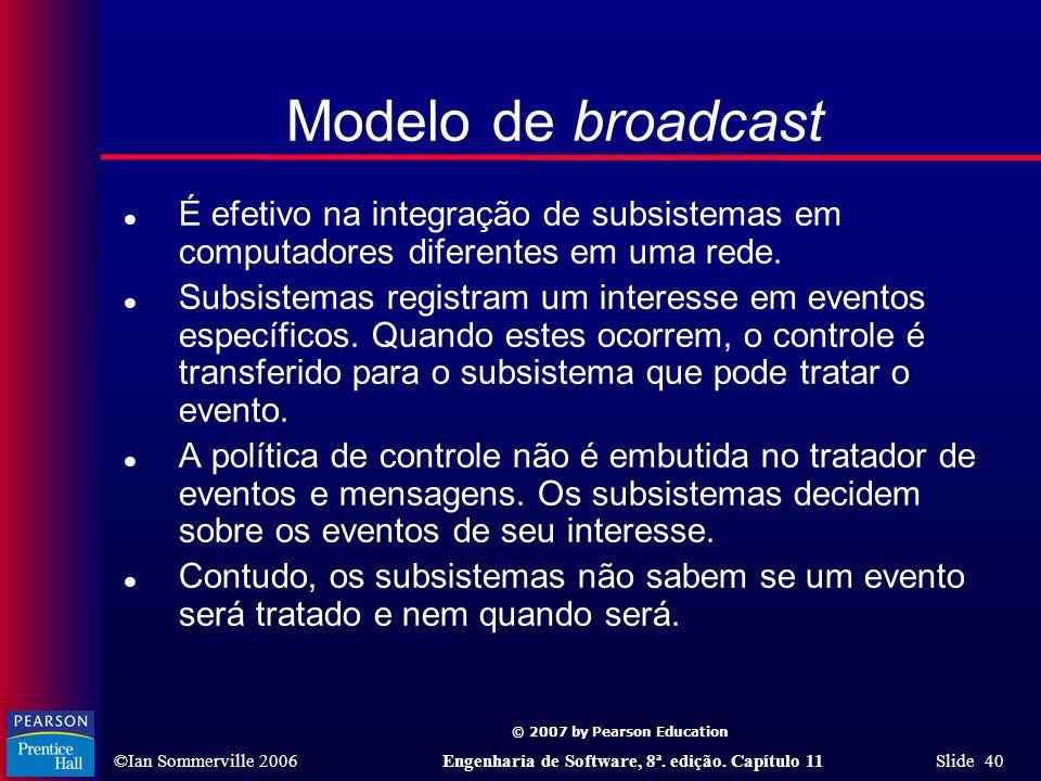 Modelo de broadcast É efetivo na integração de subsistemas em computadores diferentes em uma rede.