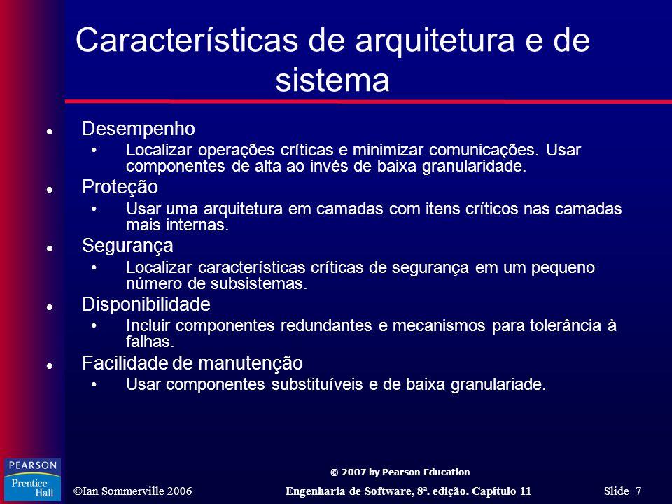 Características de arquitetura e de sistema