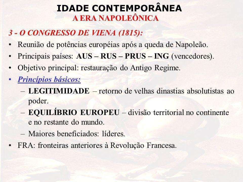 3 - O CONGRESSO DE VIENA (1815):