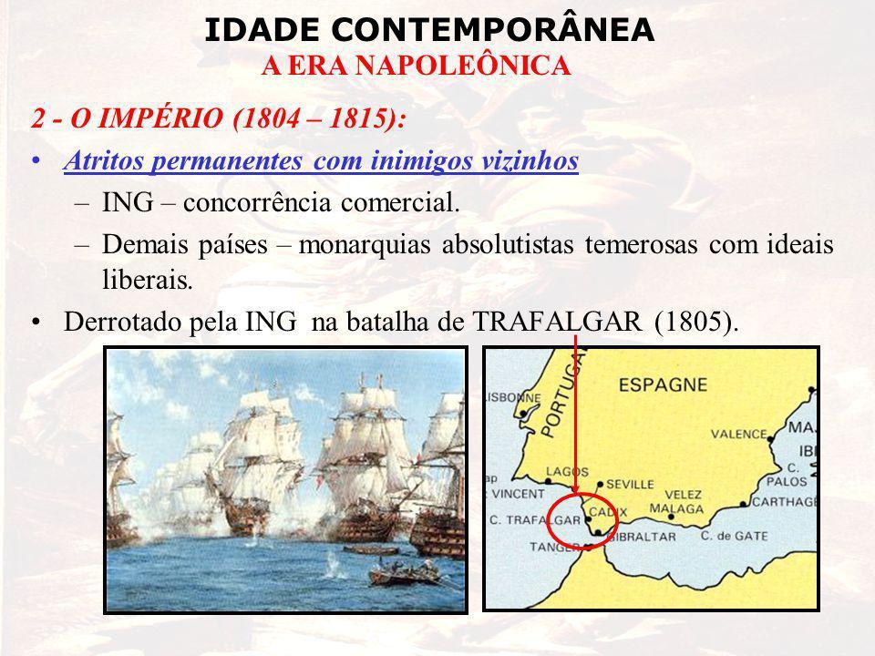 2 - O IMPÉRIO (1804 – 1815): Atritos permanentes com inimigos vizinhos. ING – concorrência comercial.