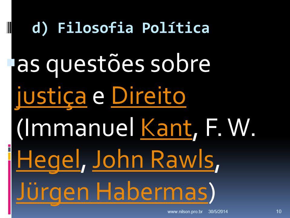 d) Filosofia Política as questões sobre justiça e Direito (Immanuel Kant, F. W. Hegel, John Rawls, Jürgen Habermas)