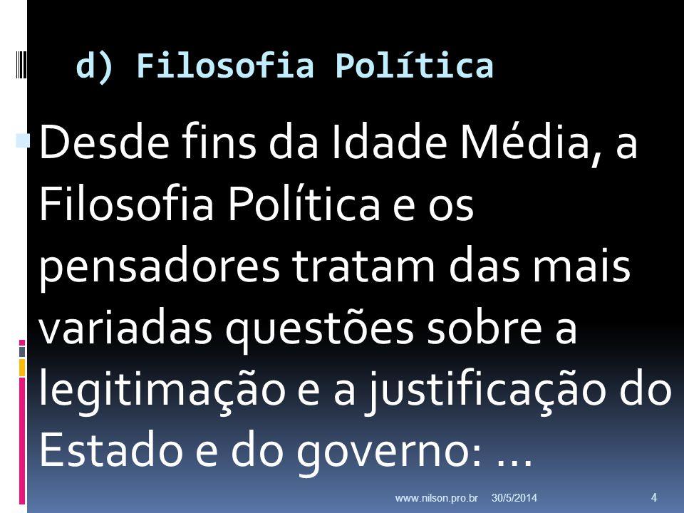 d) Filosofia Política