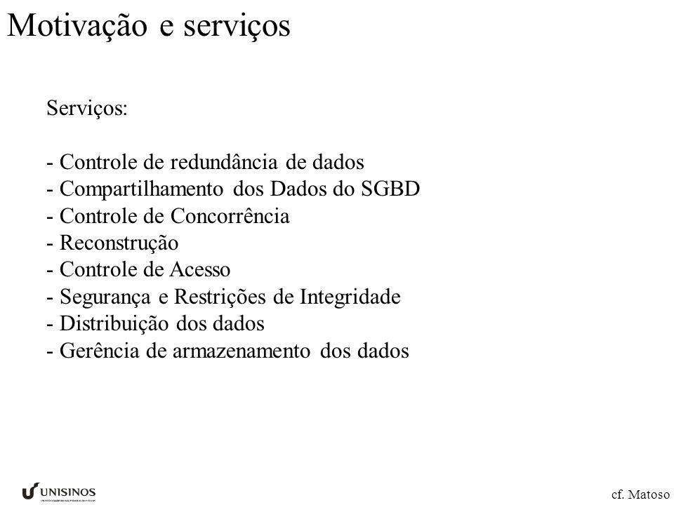 Motivação e serviços Serviços: - Controle de redundância de dados