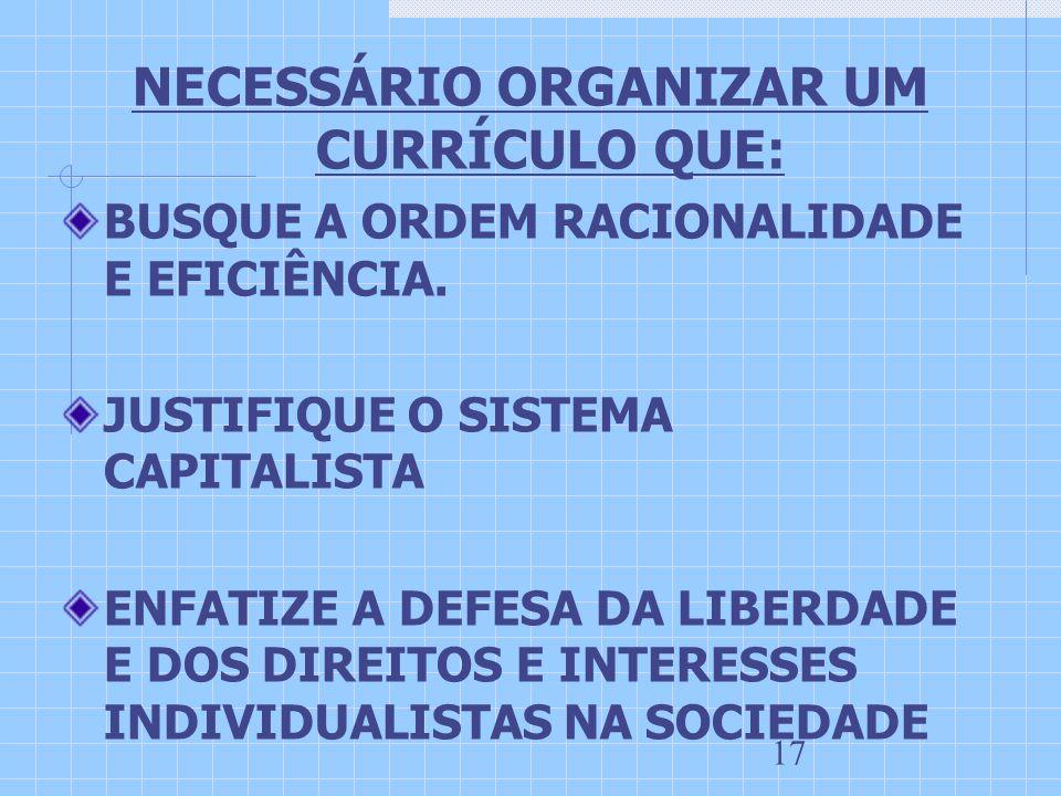 NECESSÁRIO ORGANIZAR UM CURRÍCULO QUE: