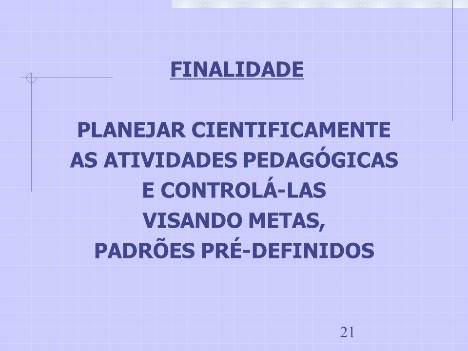 PLANEJAR CIENTIFICAMENTE AS ATIVIDADES PEDAGÓGICAS E CONTROLÁ-LAS