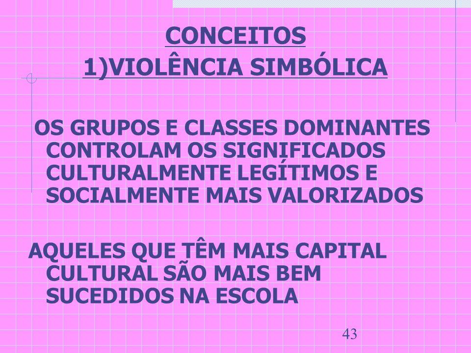 CONCEITOS 1)VIOLÊNCIA SIMBÓLICA