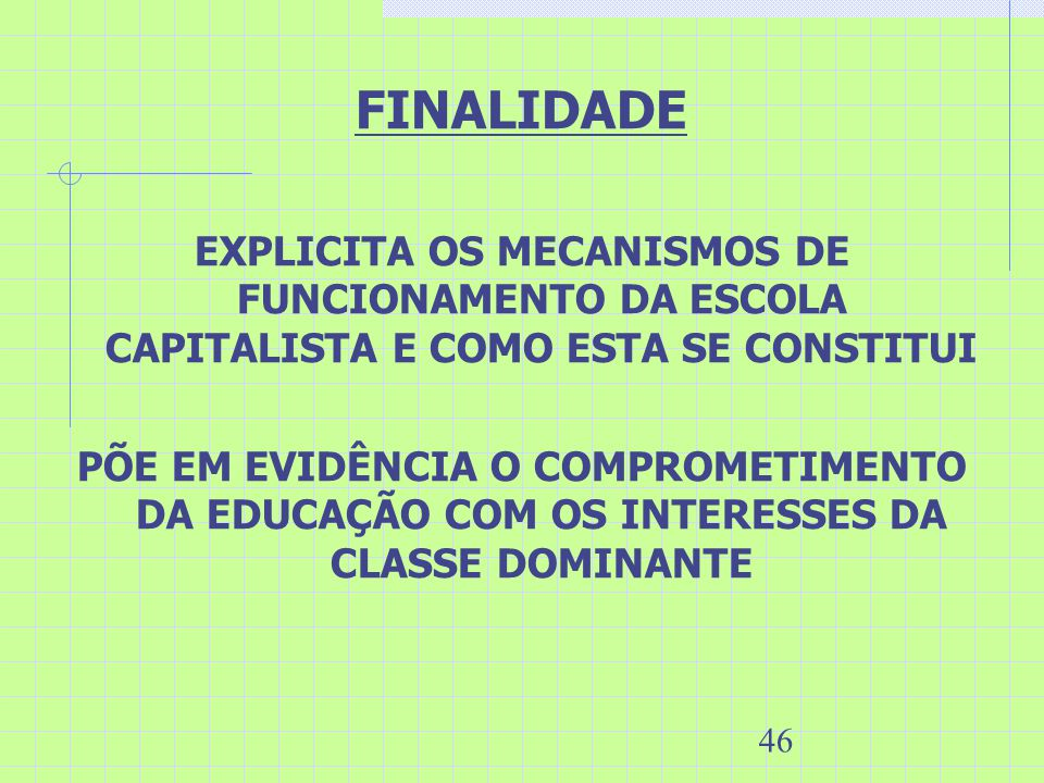 FINALIDADE EXPLICITA OS MECANISMOS DE FUNCIONAMENTO DA ESCOLA CAPITALISTA E COMO ESTA SE CONSTITUI.