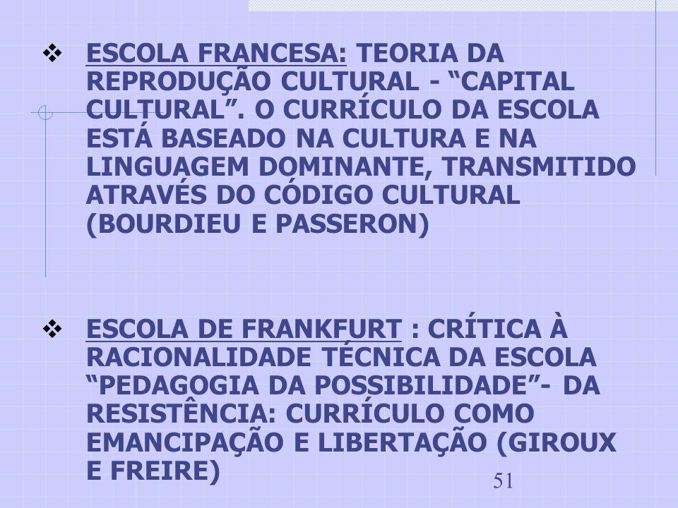 ESCOLA FRANCESA: TEORIA DA REPRODUÇÃO CULTURAL - CAPITAL CULTURAL