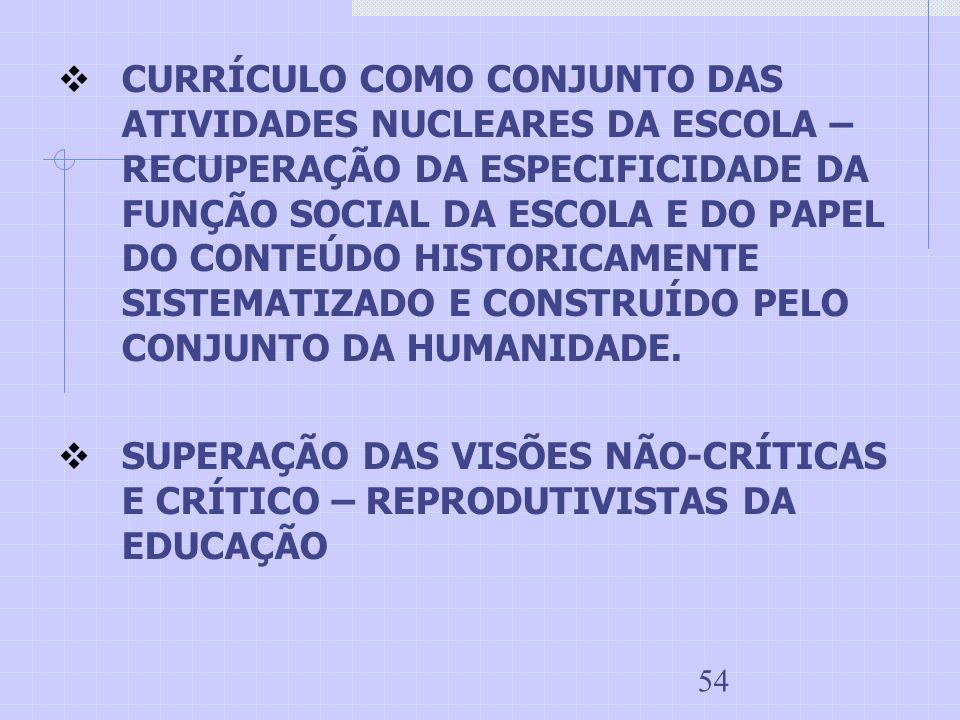 CURRÍCULO COMO CONJUNTO DAS ATIVIDADES NUCLEARES DA ESCOLA – RECUPERAÇÃO DA ESPECIFICIDADE DA FUNÇÃO SOCIAL DA ESCOLA E DO PAPEL DO CONTEÚDO HISTORICAMENTE SISTEMATIZADO E CONSTRUÍDO PELO CONJUNTO DA HUMANIDADE.