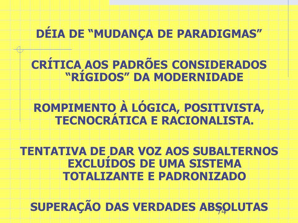 DÉIA DE MUDANÇA DE PARADIGMAS