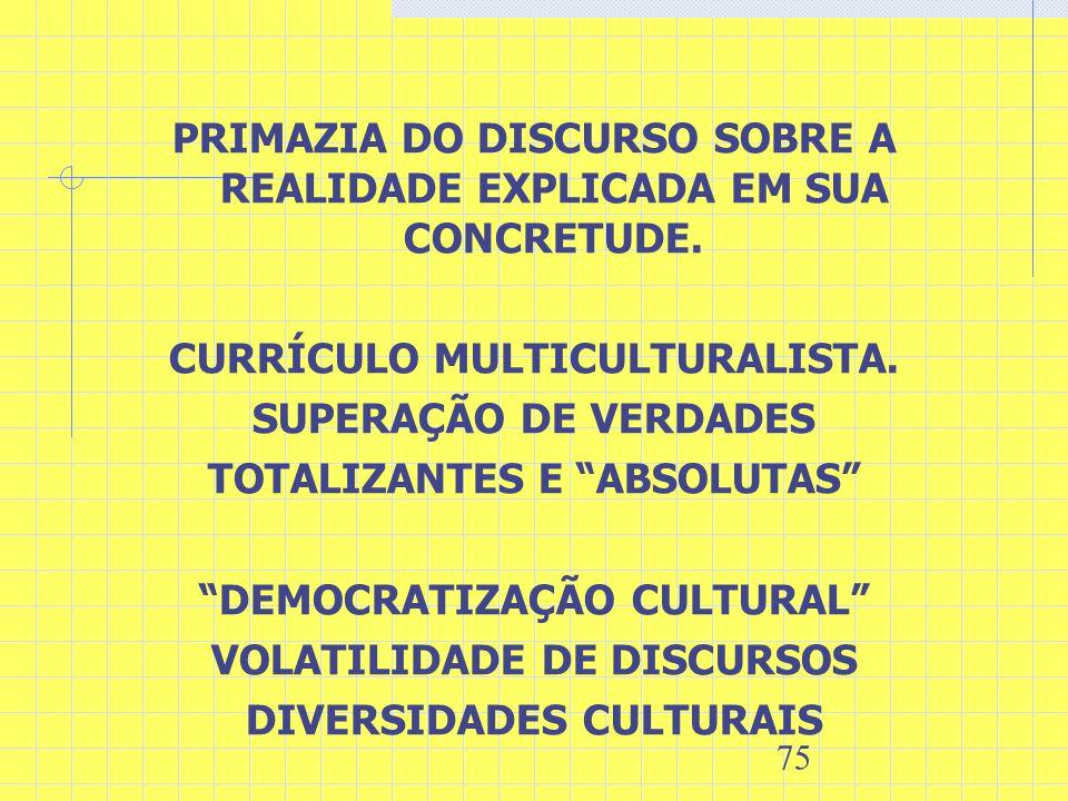 PRIMAZIA DO DISCURSO SOBRE A REALIDADE EXPLICADA EM SUA CONCRETUDE.