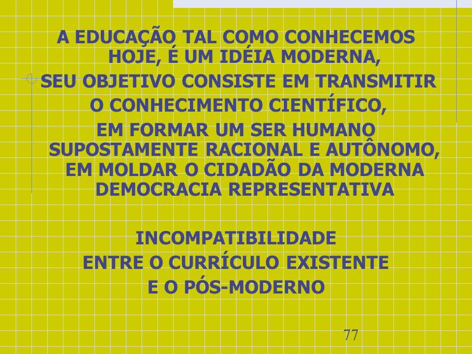 A EDUCAÇÃO TAL COMO CONHECEMOS HOJE, É UM IDÉIA MODERNA,