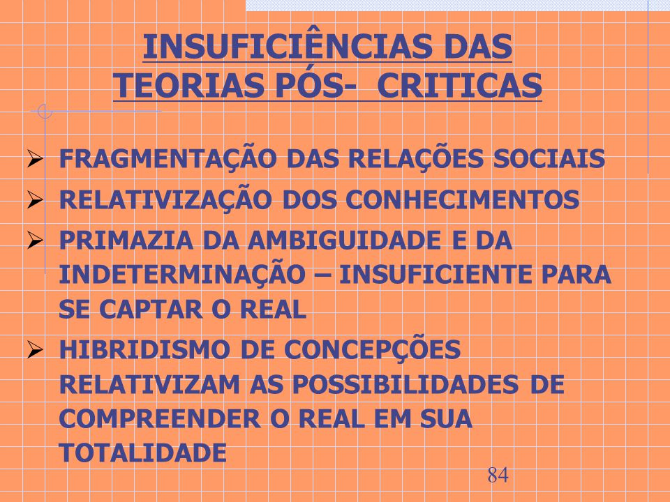 INSUFICIÊNCIAS DAS TEORIAS PÓS- CRITICAS