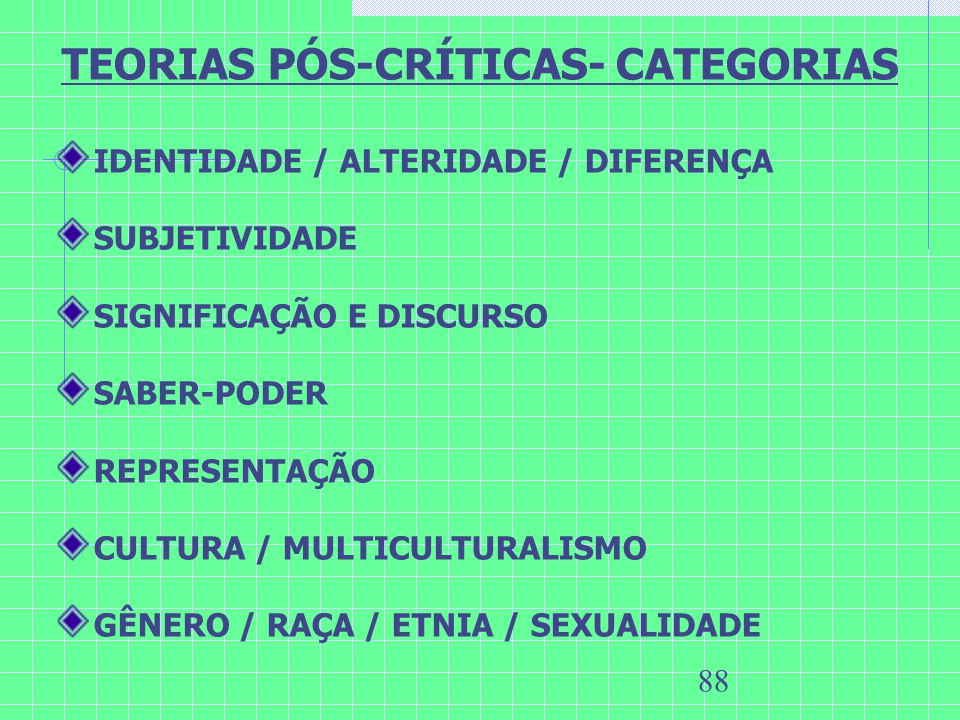 TEORIAS PÓS-CRÍTICAS- CATEGORIAS