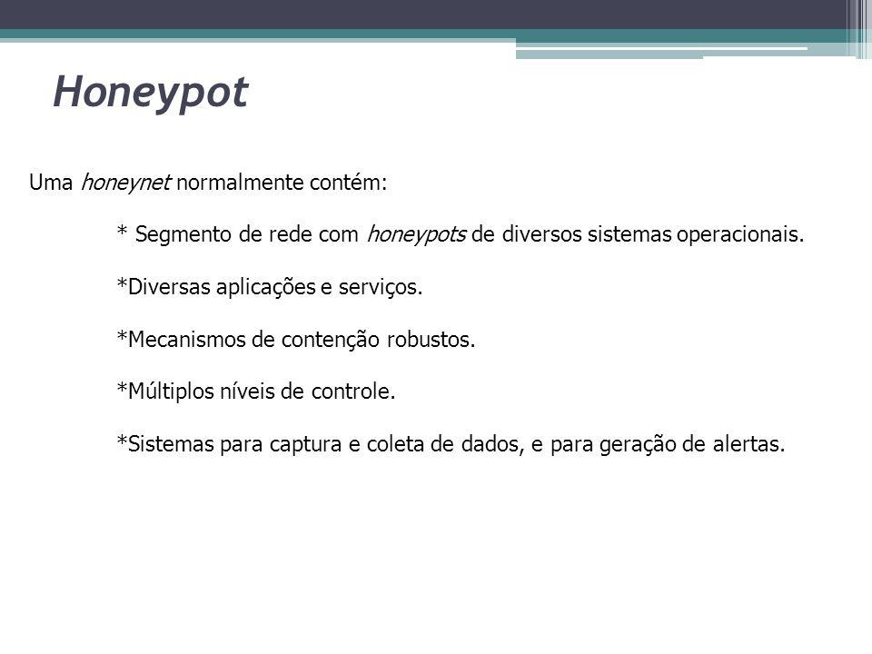 Honeypot Uma honeynet normalmente contém: