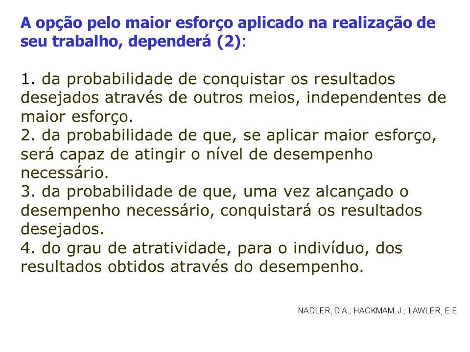A opção pelo maior esforço aplicado na realização de seu trabalho, dependerá (2):