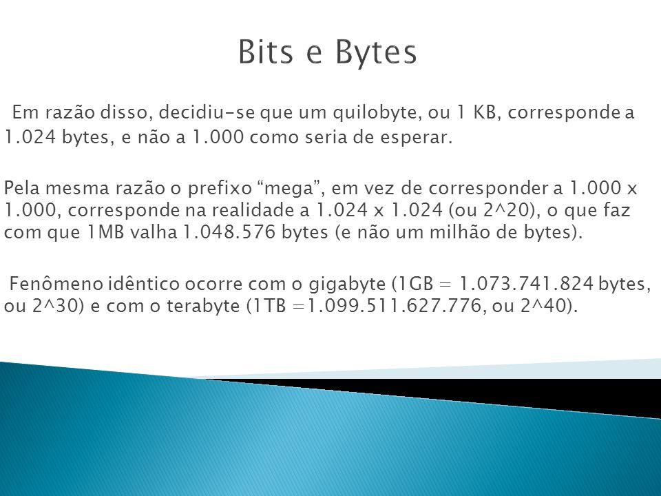 Bits e Bytes Em razão disso, decidiu-se que um quilobyte, ou 1 KB, corresponde a 1.024 bytes, e não a 1.000 como seria de esperar.